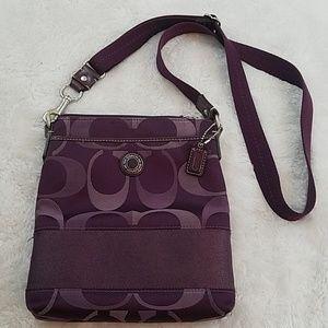 Coach Signature Jacquard Purple Crossbody Bag
